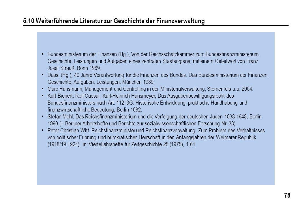 78 5.10 Weiterführende Literatur zur Geschichte der Finanzverwaltung Bundesministerium der Finanzen (Hg.), Von der Reichsschatzkammer zum Bundesfinanz