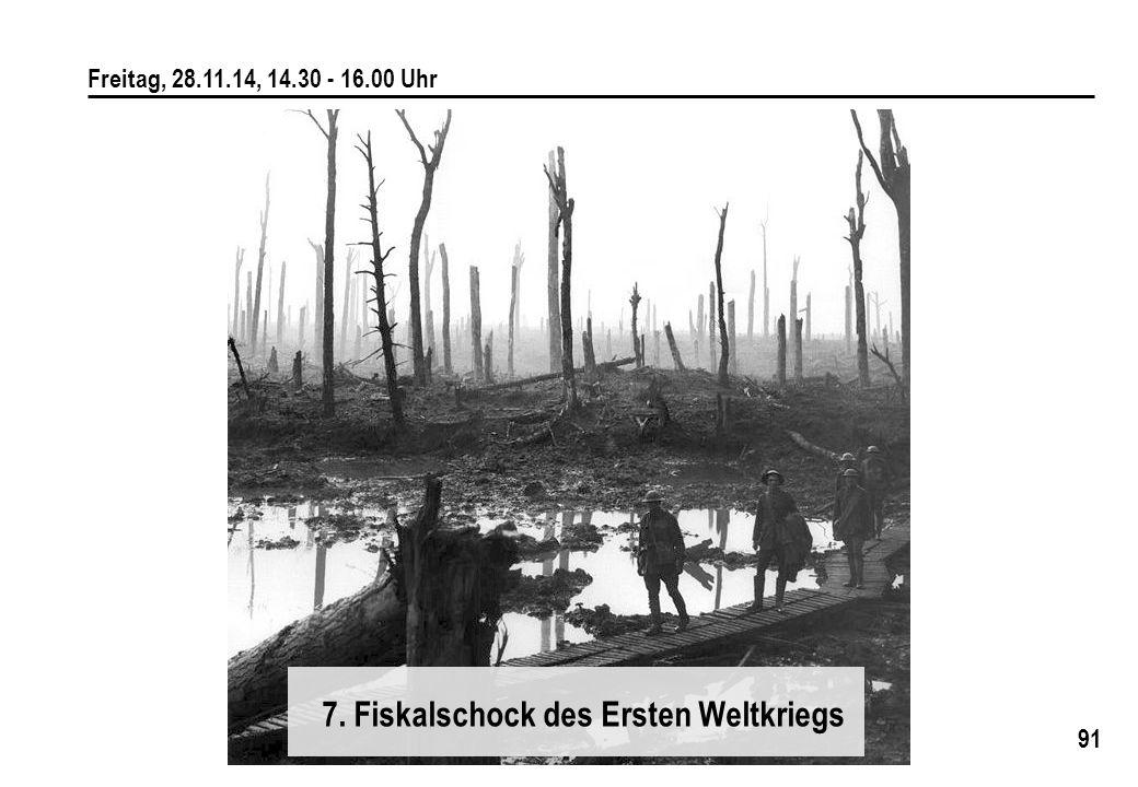 91 Freitag, 28.11.14, 14.30 - 16.00 Uhr 7. Fiskalschock des Ersten Weltkriegs