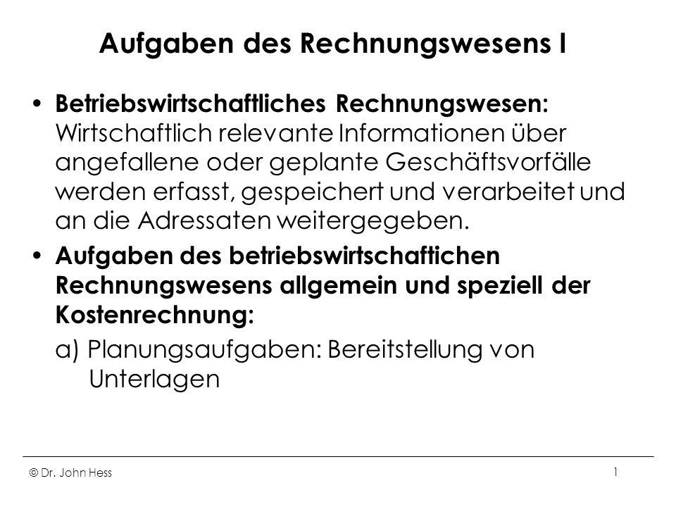 © Dr. John Hess52 Kalkulatorische Abschreibungen I