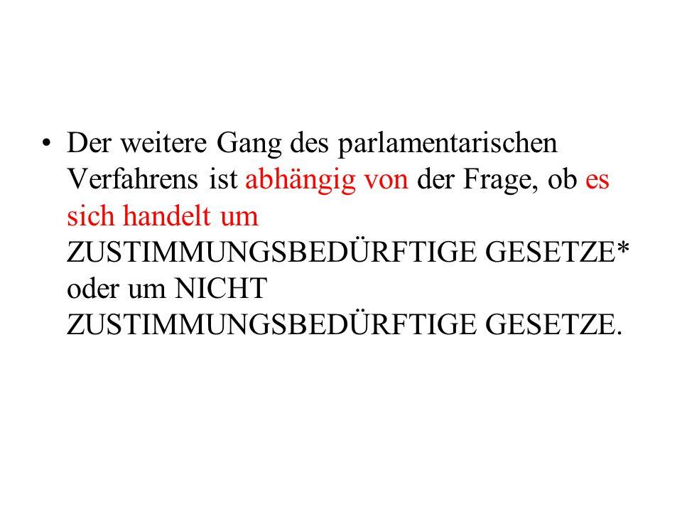Der weitere Gang des parlamentarischen Verfahrens ist abhängig von der Frage, ob es sich handelt um ZUSTIMMUNGSBEDÜRFTIGE GESETZE* oder um NICHT ZUSTI