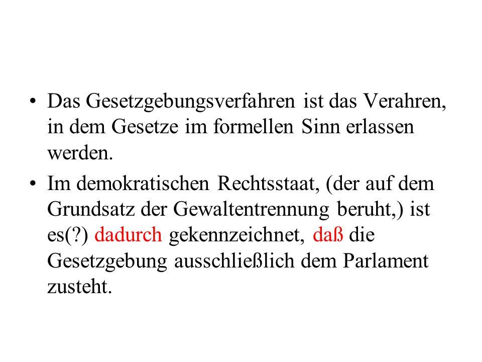 Das Gesetzgebungsverfahren ist das Verahren, in dem Gesetze im formellen Sinn erlassen werden. Im demokratischen Rechtsstaat, (der auf dem Grundsatz d