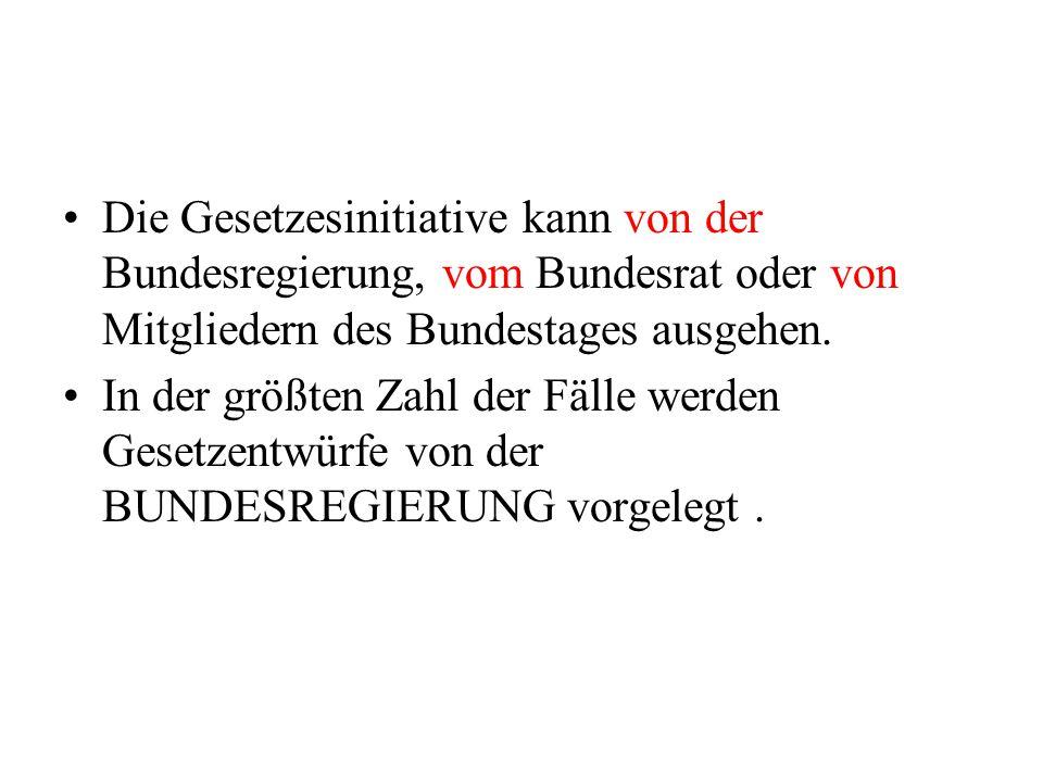 Die Gesetzesinitiative kann von der Bundesregierung, vom Bundesrat oder von Mitgliedern des Bundestages ausgehen. In der größten Zahl der Fälle werden