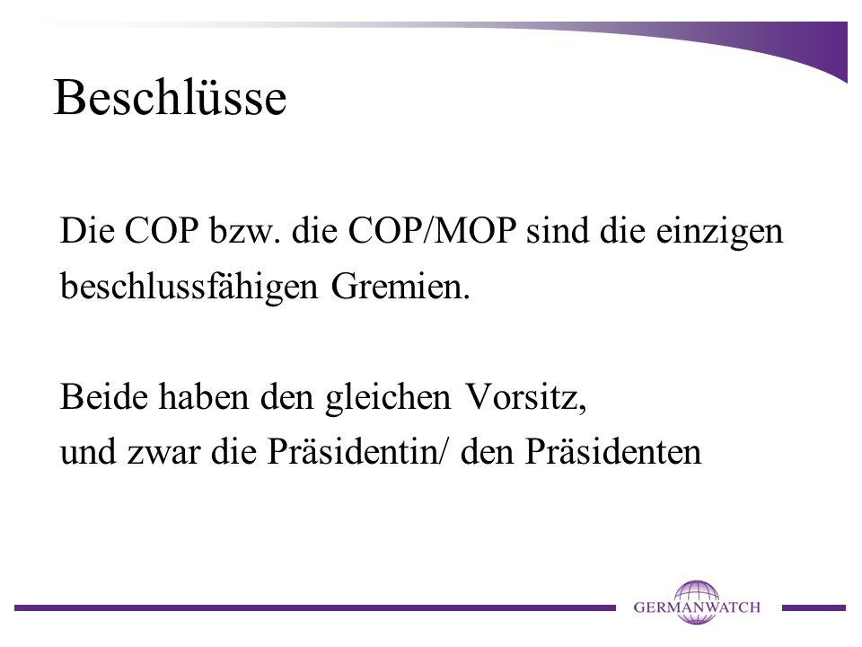 Beschlüsse Die COP bzw. die COP/MOP sind die einzigen beschlussfähigen Gremien.