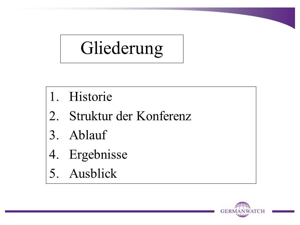 Gliederung 1.Historie 2.Struktur der Konferenz 3.Ablauf 4.Ergebnisse 5.Ausblick