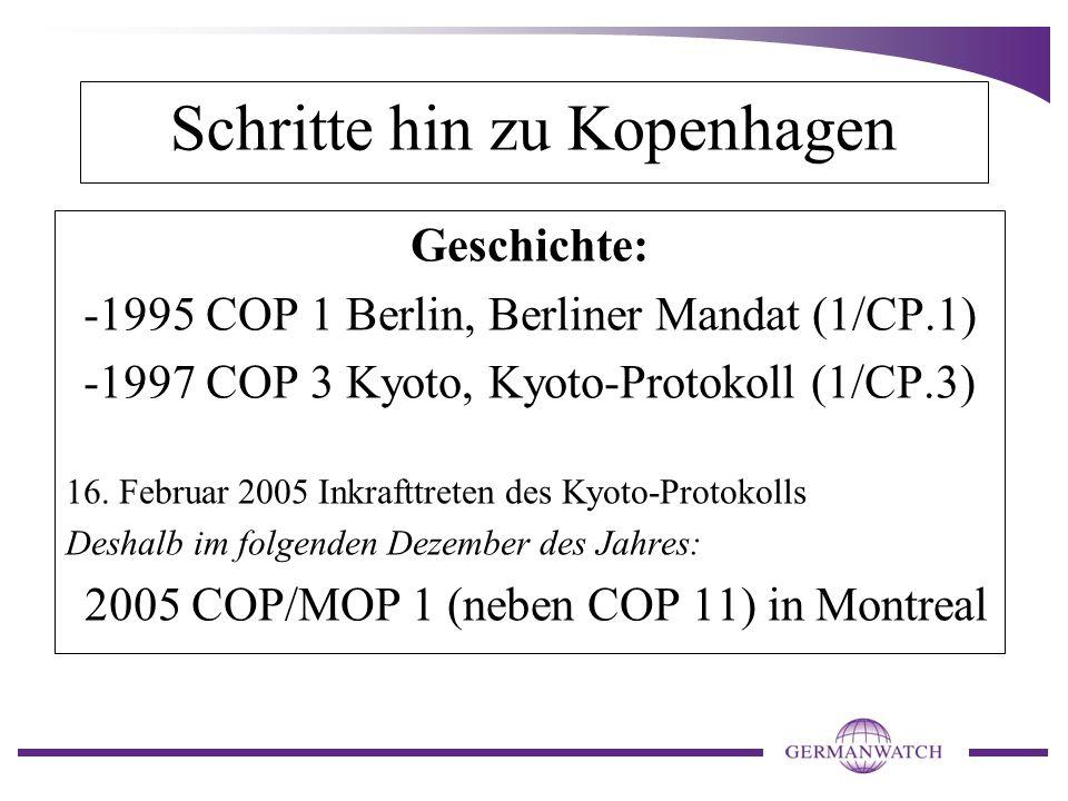 Schritte hin zu Kopenhagen Geschichte: -1995 COP 1 Berlin, Berliner Mandat (1/CP.1) -1997 COP 3 Kyoto, Kyoto-Protokoll (1/CP.3) 16.