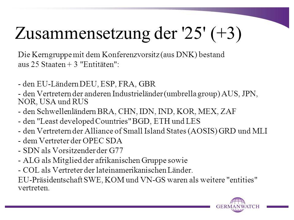 Zusammensetzung der 25 (+3) Die Kerngruppe mit dem Konferenzvorsitz (aus DNK) bestand aus 25 Staaten + 3 Entitäten : - den EU-Ländern DEU, ESP, FRA, GBR - den Vertretern der anderen Industrieländer (umbrella group) AUS, JPN, NOR, USA und RUS - den Schwellenländern BRA, CHN, IDN, IND, KOR, MEX, ZAF - den Least developed Countries BGD, ETH und LES - den Vertretern der Alliance of Small Island States (AOSIS) GRD und MLI - dem Vertreter der OPEC SDA - SDN als Vorsitzender der G77 - ALG als Mitglied der afrikanischen Gruppe sowie - COL als Vertreter der lateinamerikanischen Länder.