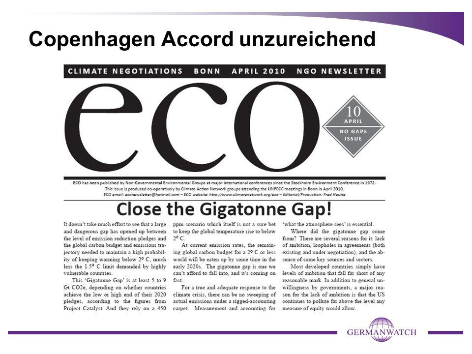 Copenhagen Accord unzureichend