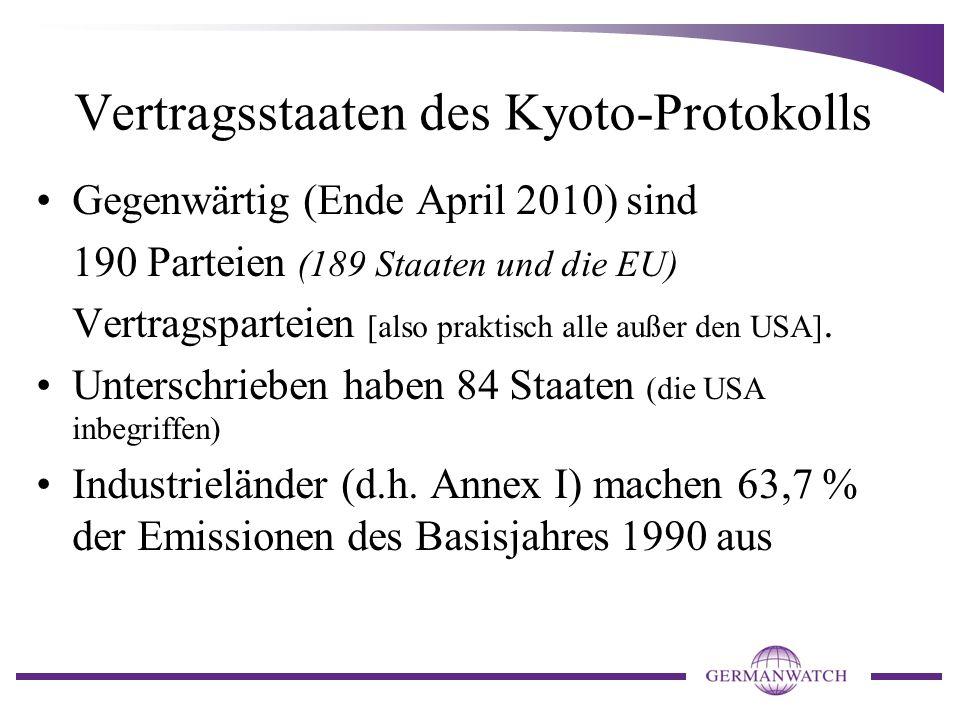 Vertragsstaaten des Kyoto-Protokolls Gegenwärtig (Ende April 2010) sind 190 Parteien (189 Staaten und die EU) Vertragsparteien [also praktisch alle außer den USA].