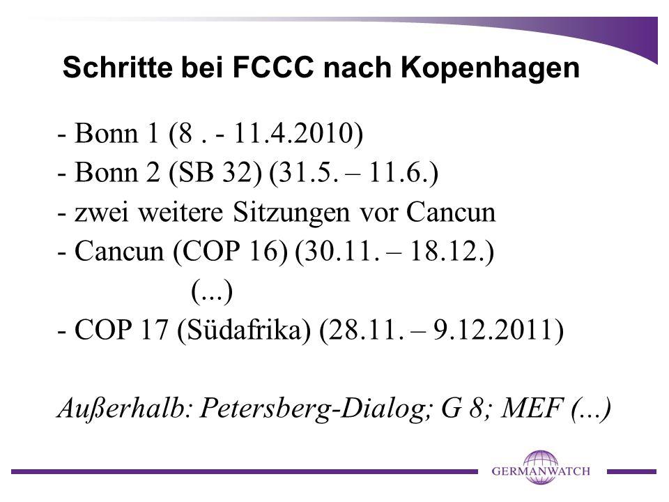 Schritte bei FCCC nach Kopenhagen - Bonn 1 (8. - 11.4.2010) - Bonn 2 (SB 32) (31.5.