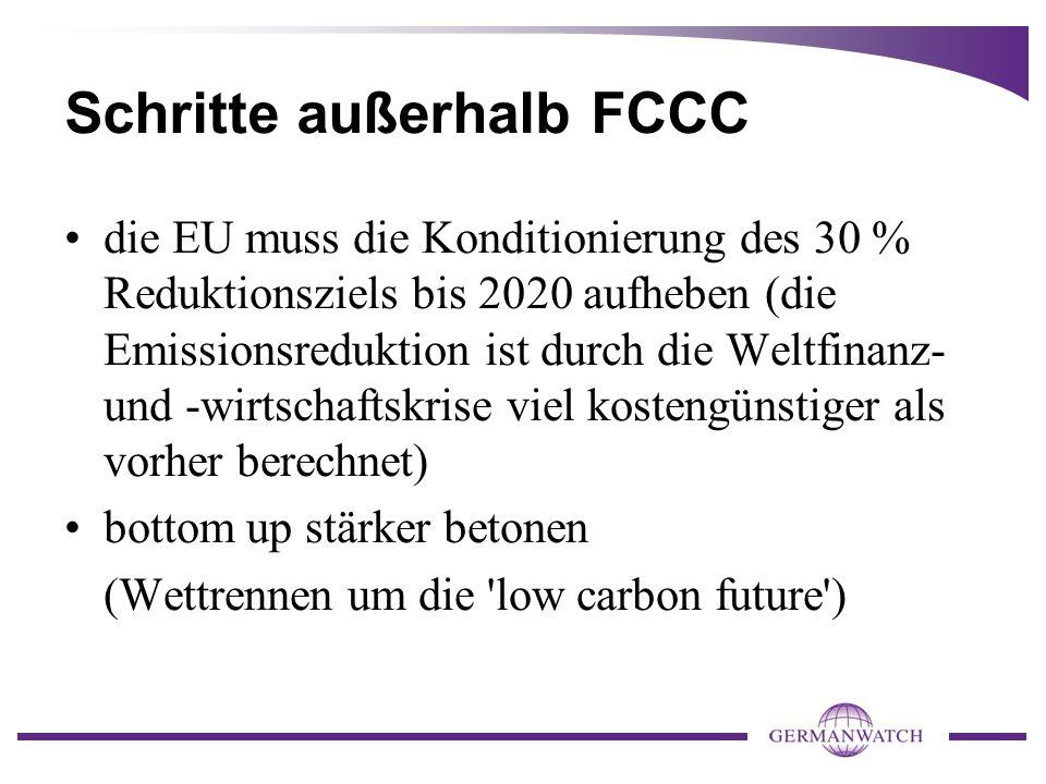 Schritte außerhalb FCCC die EU muss die Konditionierung des 30 % Reduktionsziels bis 2020 aufheben (die Emissionsreduktion ist durch die Weltfinanz- und -wirtschaftskrise viel kostengünstiger als vorher berechnet) bottom up stärker betonen (Wettrennen um die low carbon future )