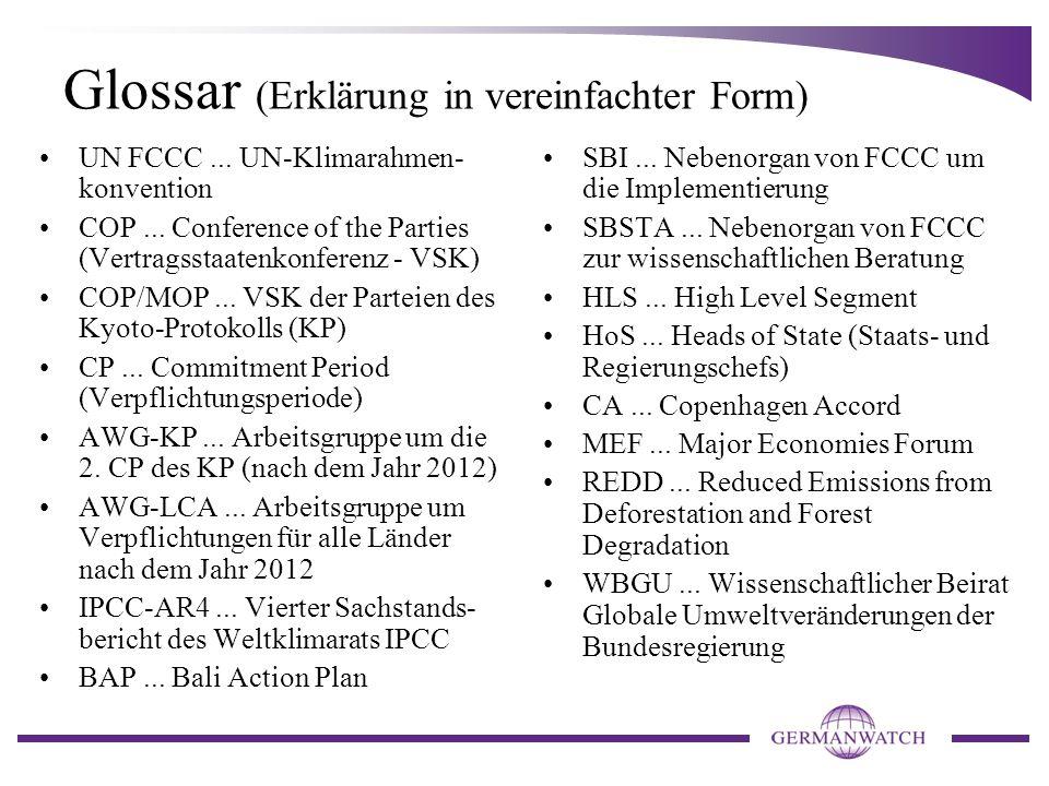 Glossar (Erklärung in vereinfachter Form) UN FCCC...