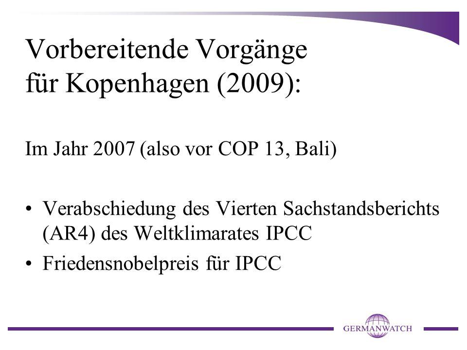 Ergebnisse von COP 13 Bali (2007) Bali Action Plan (BAP) (decision 1/CP.13) Gründung der Ad Hoc Working Group on Long-term Cooperative Action under the Convention (AWG-LCA)...