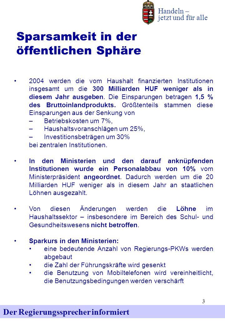3 Der Regierungssprecher informiert Handeln – jetzt und für alle Sparsamkeit in der öffentlichen Sphäre 2004 werden die vom Haushalt finanzierten Inst