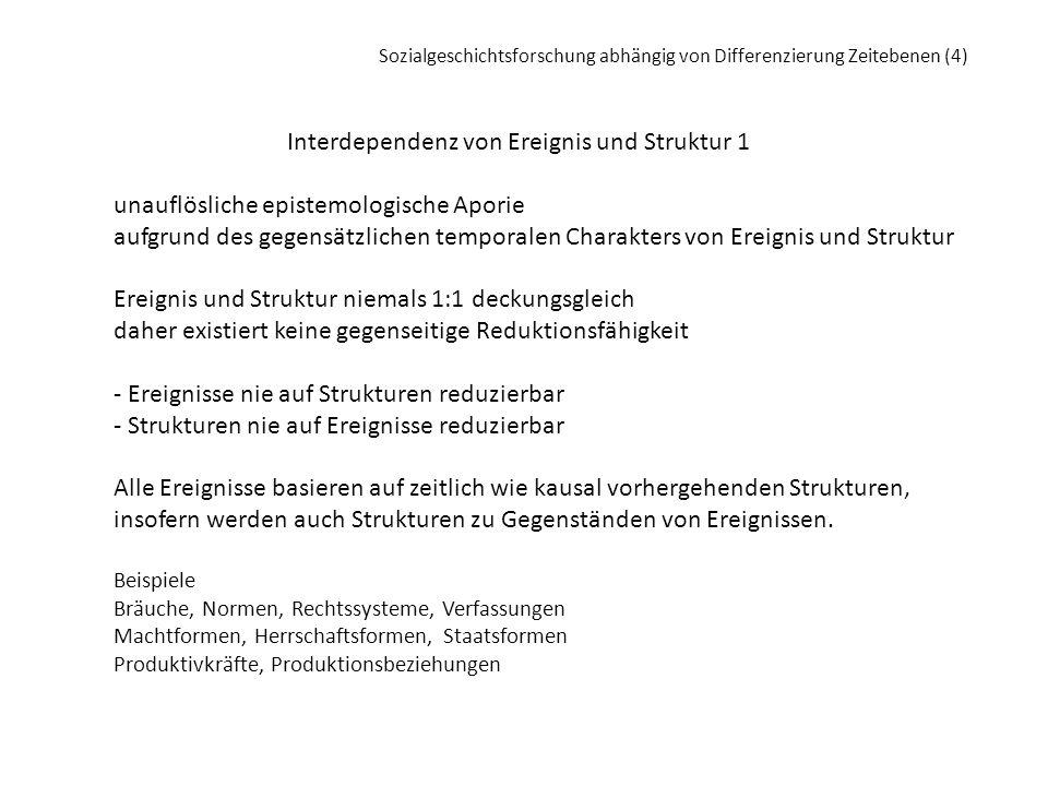 Interdependenz von Ereignis und Struktur 1 unauflösliche epistemologische Aporie aufgrund des gegensätzlichen temporalen Charakters von Ereignis und S