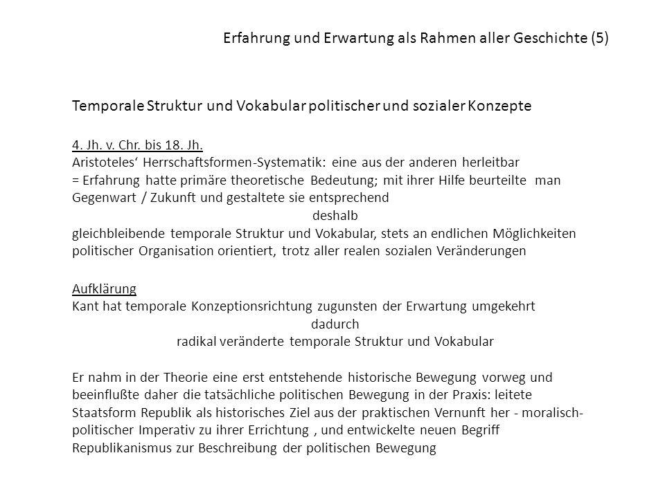 Erfahrung und Erwartung als Rahmen aller Geschichte (5) Temporale Struktur und Vokabular politischer und sozialer Konzepte 4. Jh. v. Chr. bis 18. Jh.