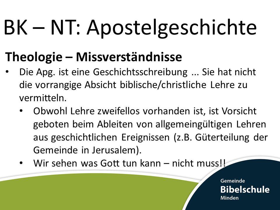BK – NT: Apostelgeschichte Theologie – Missverständnisse Die Apg. ist eine Geschichtsschreibung... Sie hat nicht die vorrangige Absicht biblische/chri