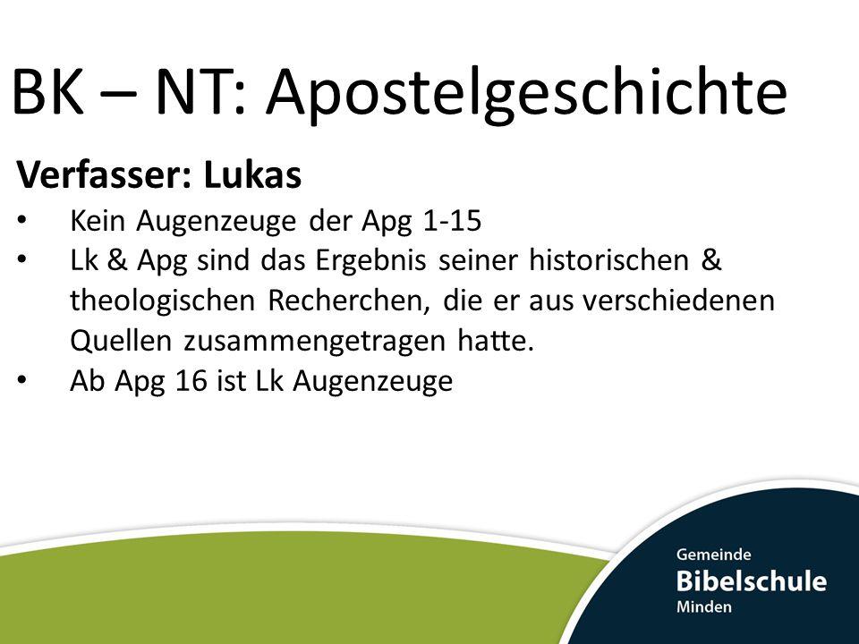 BK – NT: Apostelgeschichte Verfasser: Lukas Kein Augenzeuge der Apg 1-15 Lk & Apg sind das Ergebnis seiner historischen & theologischen Recherchen, di