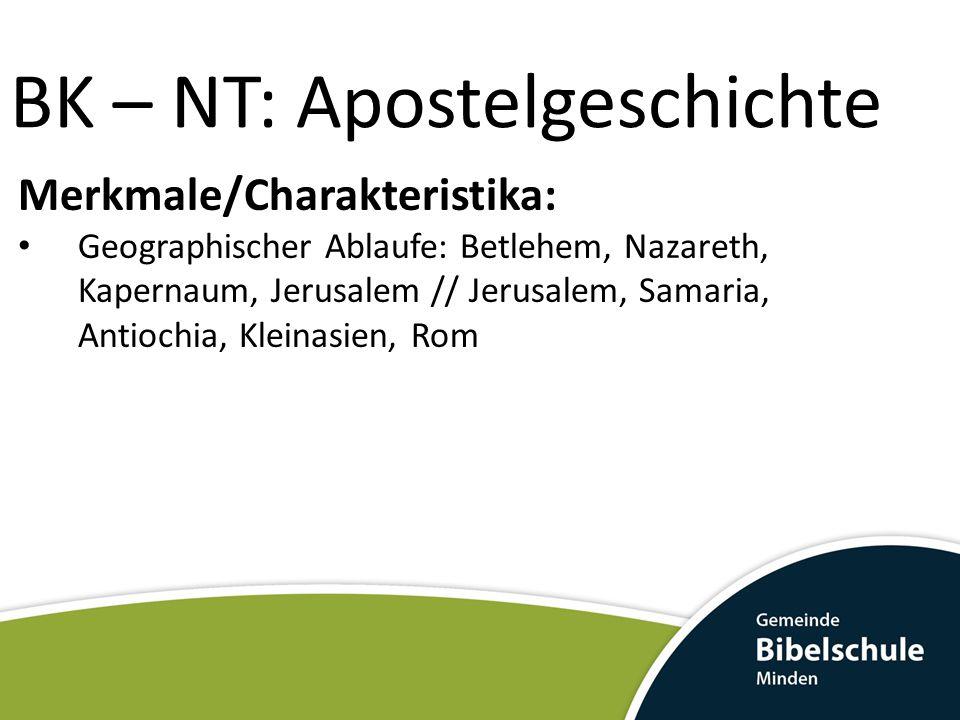 Merkmale/Charakteristika: Geographischer Ablaufe: Betlehem, Nazareth, Kapernaum, Jerusalem // Jerusalem, Samaria, Antiochia, Kleinasien, Rom BK – NT: