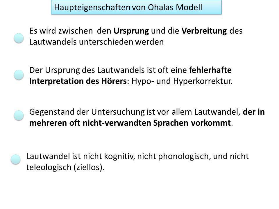 Phonologisierung: Neue Phoneme wegen Hypokorrektur (der Hörer : der Sprecher plante /bãn/ ) Hörer als SprecherSprecherHörer plant /ban/ [bãn] erzeugt [bãn] Akustik kompensiert für Koartikulation rekonstruiert /ban/ rekonstruiert /bãn/ /ã/ wird phonologisiert, wenn es auch in Kontexten produziert wird, die sich nicht mehr durch die Koartikulation erklären lassen Mini- Lautwandel: /an/ -> /ãn/ plant /ba, bã/ [ba, bã] Fr: bas, bain