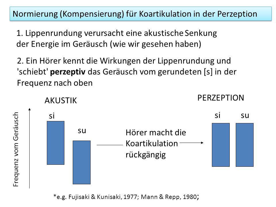 Normierung (Kompensierung) für Koartikulation in der Perzeption si su Frequenz vom Geräusch AKUSTIK 1.