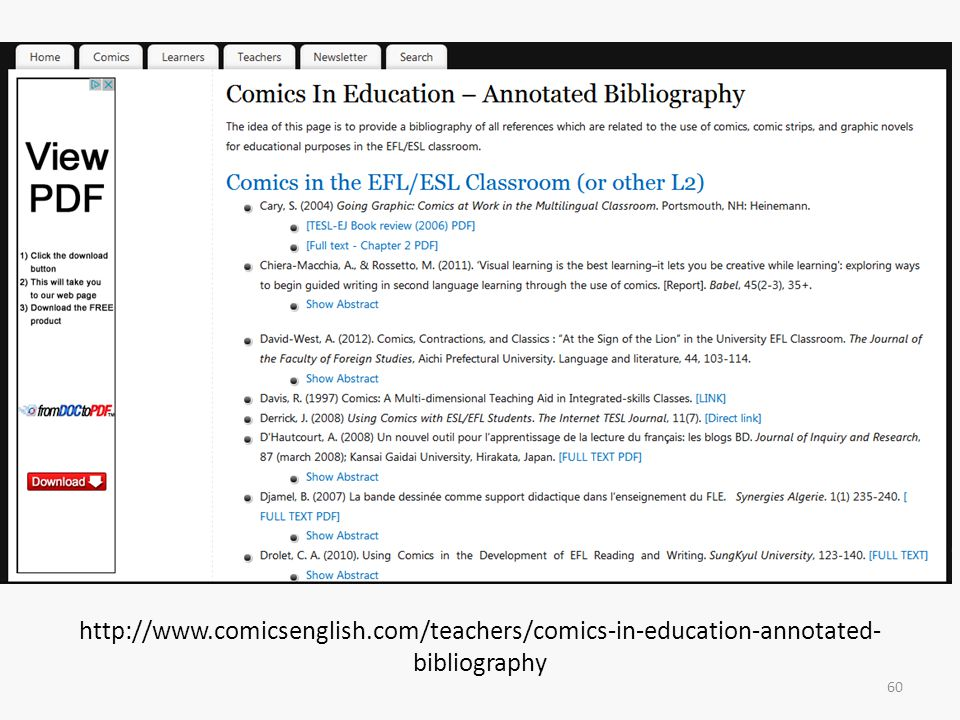 http://www.comicsenglish.com/teachers/comics-in-education-annotated- bibliography 60