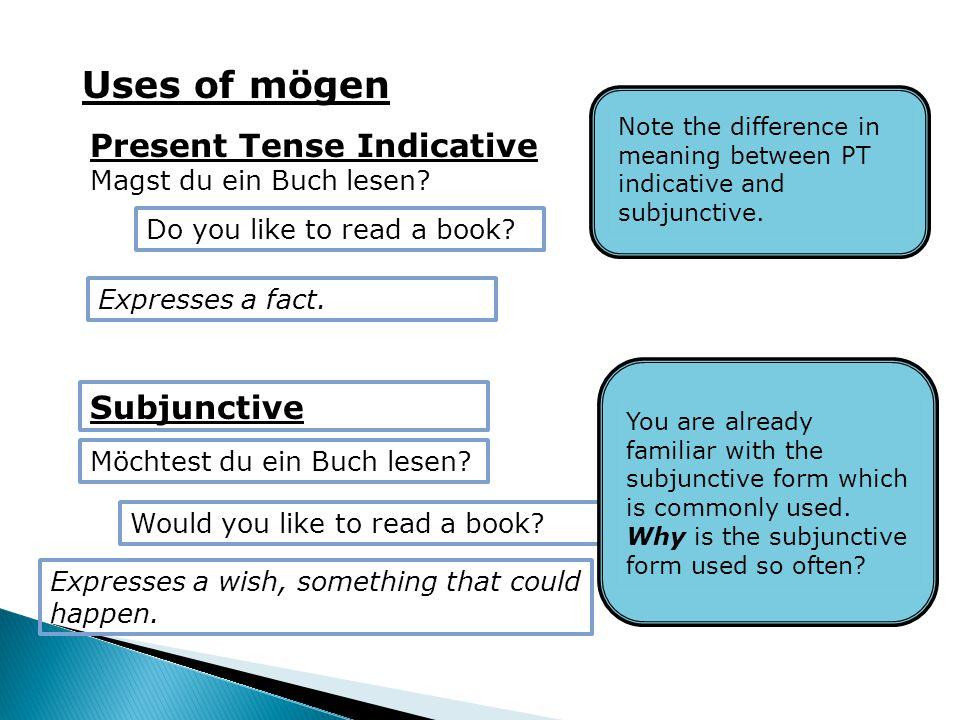 Uses of mögen Present Tense Indicative Magst du ein Buch lesen.
