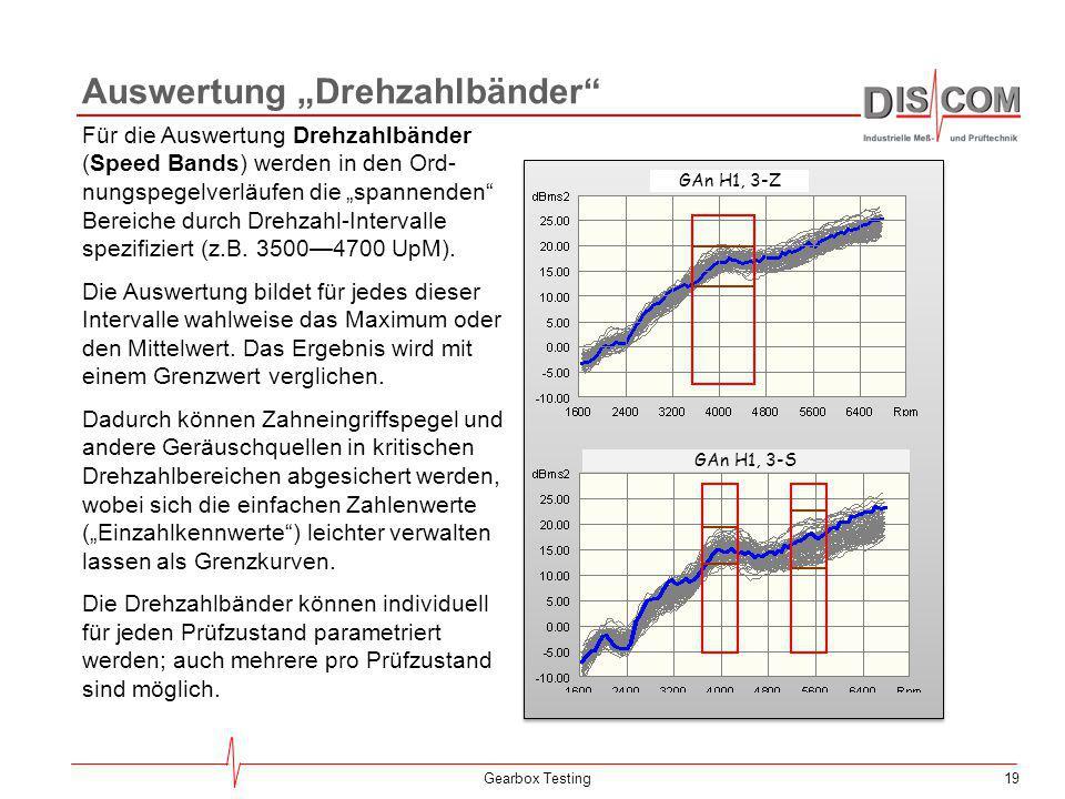 """19Gearbox Testing Auswertung """"Drehzahlbänder"""" Für die Auswertung Drehzahlbänder (Speed Bands) werden in den Ord- nungspegelverläufen die """"spannenden"""""""