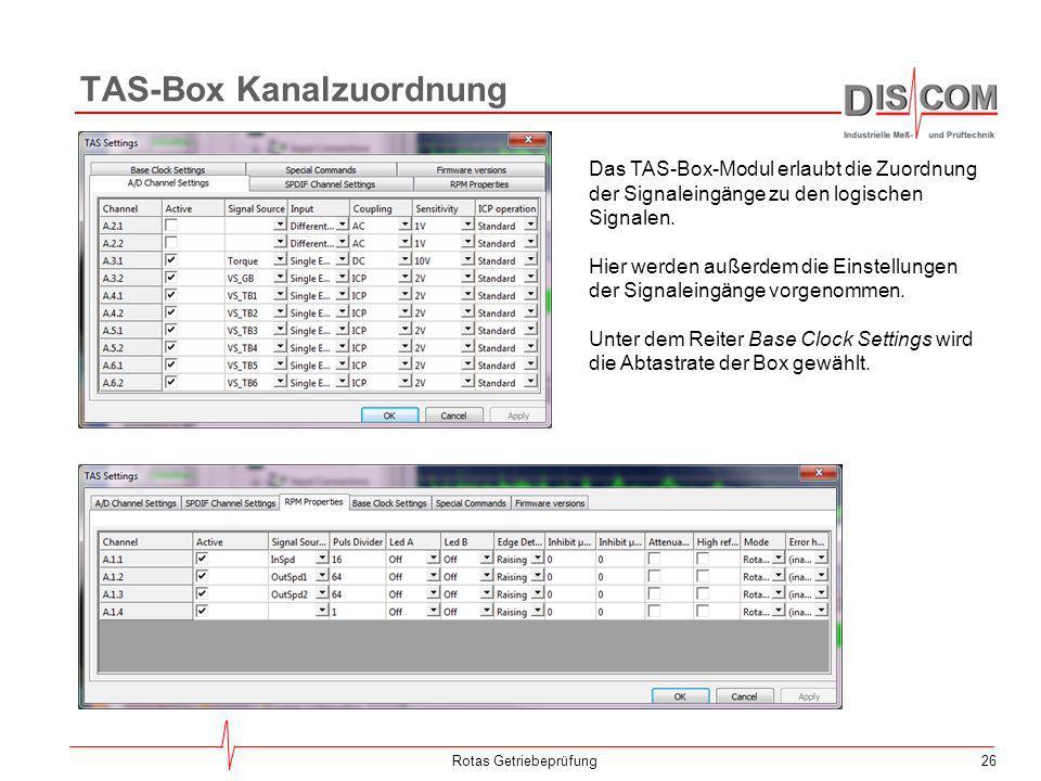 26 TAS-Box Kanalzuordnung Rotas Getriebeprüfung Das TAS-Box-Modul erlaubt die Zuordnung der Signaleingänge zu den logischen Signalen. Hier werden auße