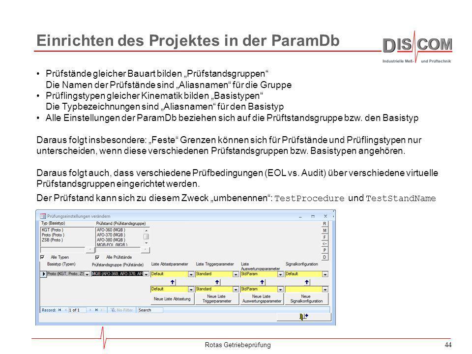 """44 Einrichten des Projektes in der ParamDb Rotas Getriebeprüfung Prüfstände gleicher Bauart bilden """"Prüfstandsgruppen"""" Die Namen der Prüfstände sind """""""