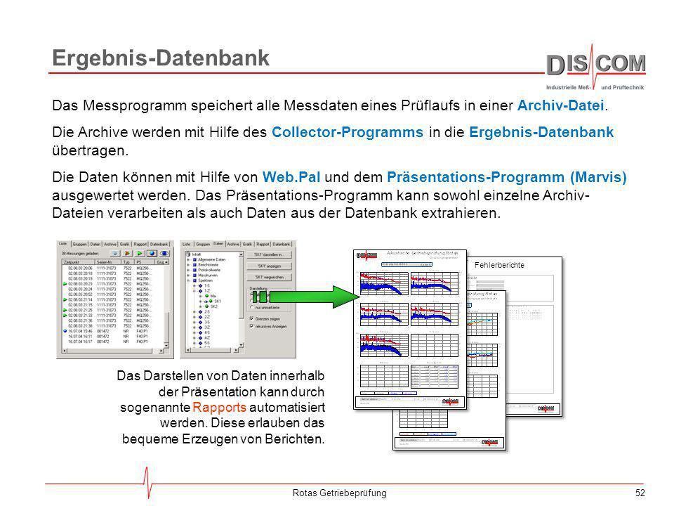 52Rotas Getriebeprüfung Ergebnis-Datenbank Das Messprogramm speichert alle Messdaten eines Prüflaufs in einer Archiv-Datei. Die Archive werden mit Hil