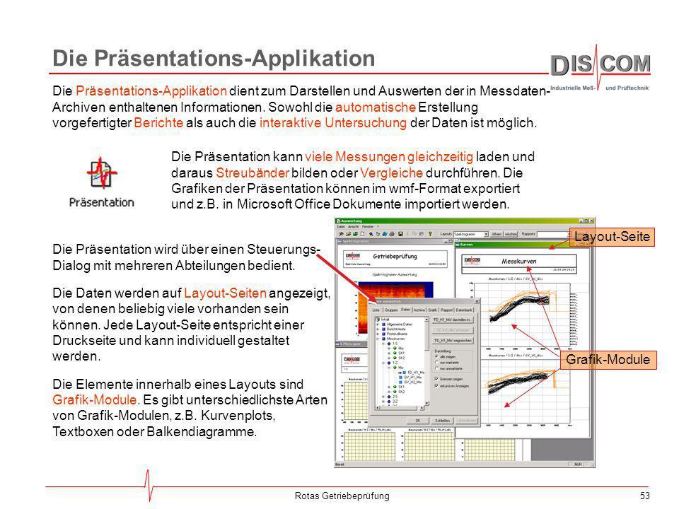 53Rotas Getriebeprüfung Die Präsentations-Applikation Die Präsentations-Applikation dient zum Darstellen und Auswerten der in Messdaten- Archiven enth