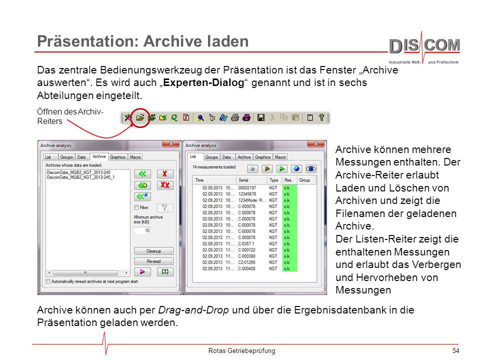"""54 Präsentation: Archive laden Rotas Getriebeprüfung Das zentrale Bedienungswerkzeug der Präsentation ist das Fenster """"Archive auswerten"""". Es wird auc"""