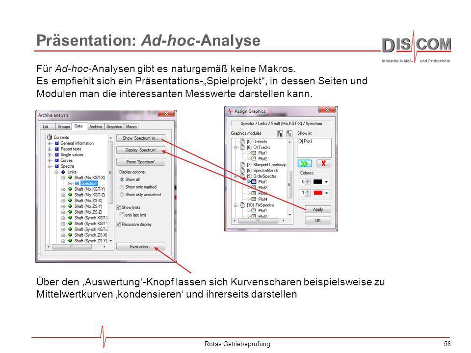 """56 Präsentation: Ad-hoc-Analyse Rotas Getriebeprüfung Für Ad-hoc-Analysen gibt es naturgemäß keine Makros. Es empfiehlt sich ein Präsentations-""""Spielp"""