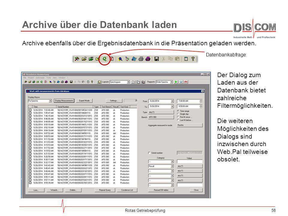 58 Archive über die Datenbank laden Rotas Getriebeprüfung Der Dialog zum Laden aus der Datenbank bietet zahlreiche Filtermöglichkeiten. Die weiteren M