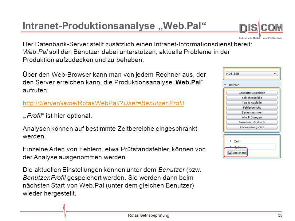 59Rotas Getriebeprüfung Der Datenbank-Server stellt zusätzlich einen Intranet-Informationsdienst bereit: Web.Pal soll den Benutzer dabei unterstützen,