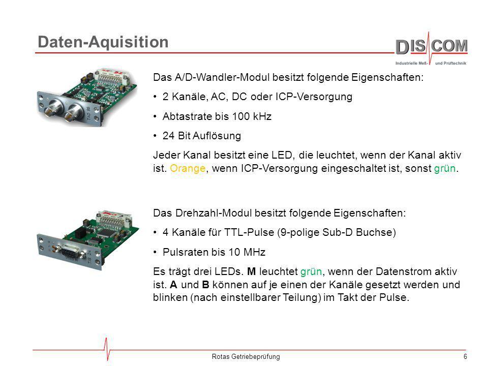 6Rotas Getriebeprüfung Daten-Aquisition Das A/D-Wandler-Modul besitzt folgende Eigenschaften: 2 Kanäle, AC, DC oder ICP-Versorgung Abtastrate bis 100