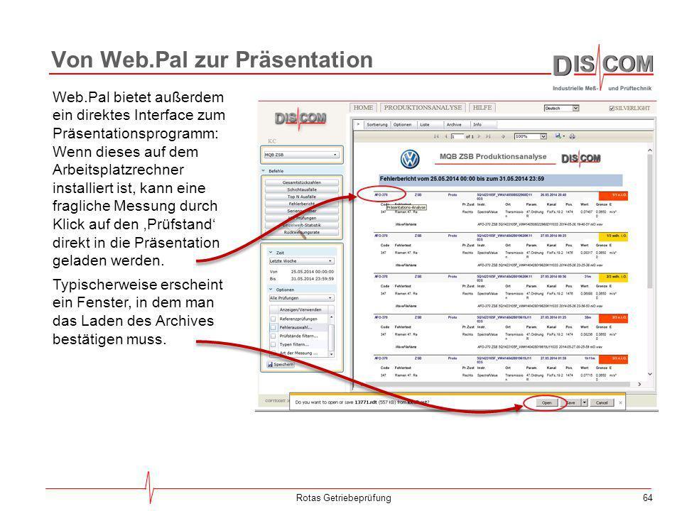 64Rotas Getriebeprüfung Web.Pal bietet außerdem ein direktes Interface zum Präsentationsprogramm: Wenn dieses auf dem Arbeitsplatzrechner installiert