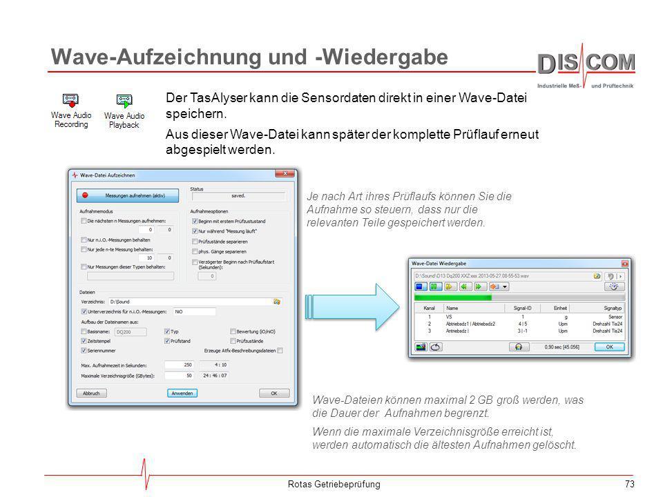 73 Wave-Aufzeichnung und -Wiedergabe Rotas Getriebeprüfung Der TasAlyser kann die Sensordaten direkt in einer Wave-Datei speichern. Aus dieser Wave-Da