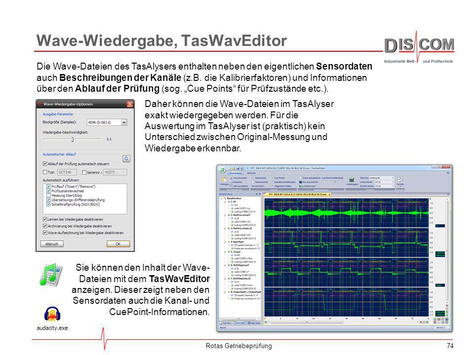 74 Wave-Wiedergabe, TasWavEditor Rotas Getriebeprüfung Die Wave-Dateien des TasAlysers enthalten neben den eigentlichen Sensordaten auch Beschreibunge