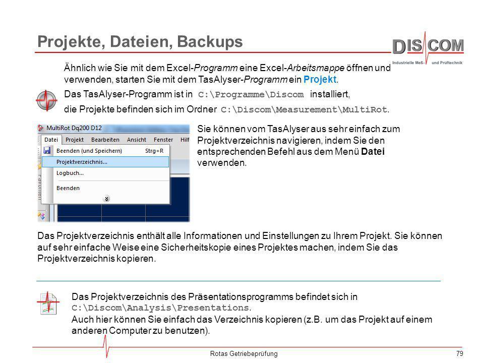 79 Projekte, Dateien, Backups Rotas Getriebeprüfung Ähnlich wie Sie mit dem Excel-Programm eine Excel-Arbeitsmappe öffnen und verwenden, starten Sie m