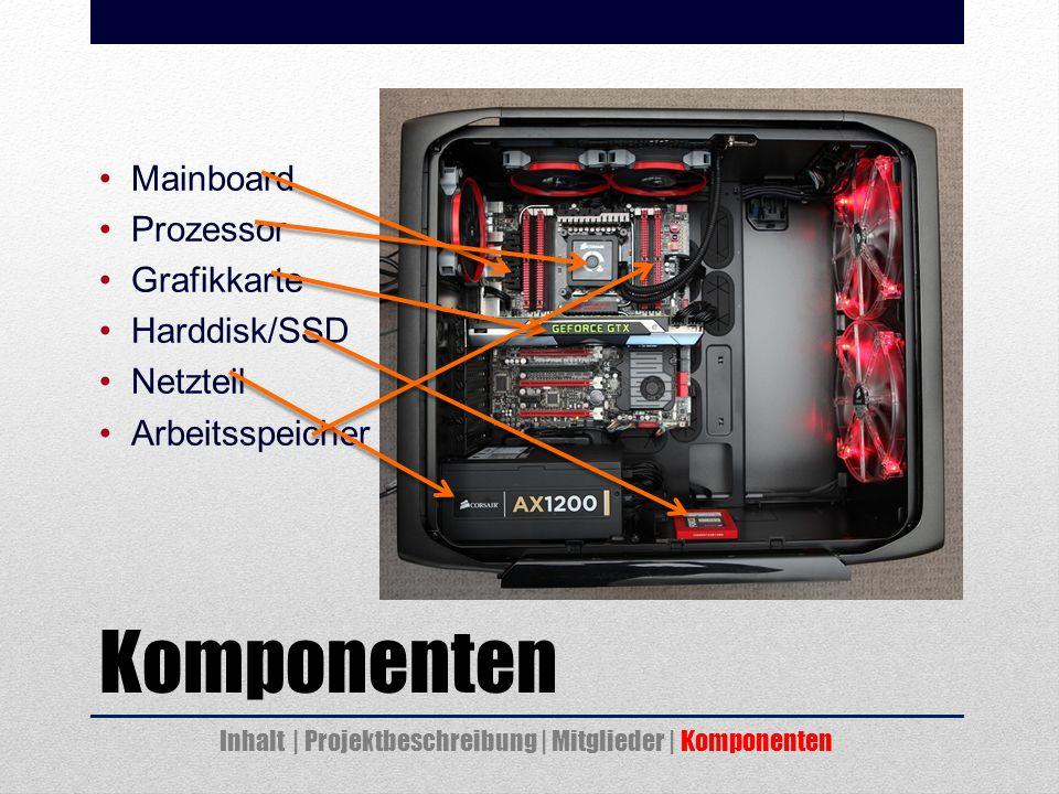 Komponenten Mainboard Prozessor Grafikkarte Harddisk/SSD Netzteil Arbeitsspeicher Inhalt | Projektbeschreibung | Mitglieder | Komponenten