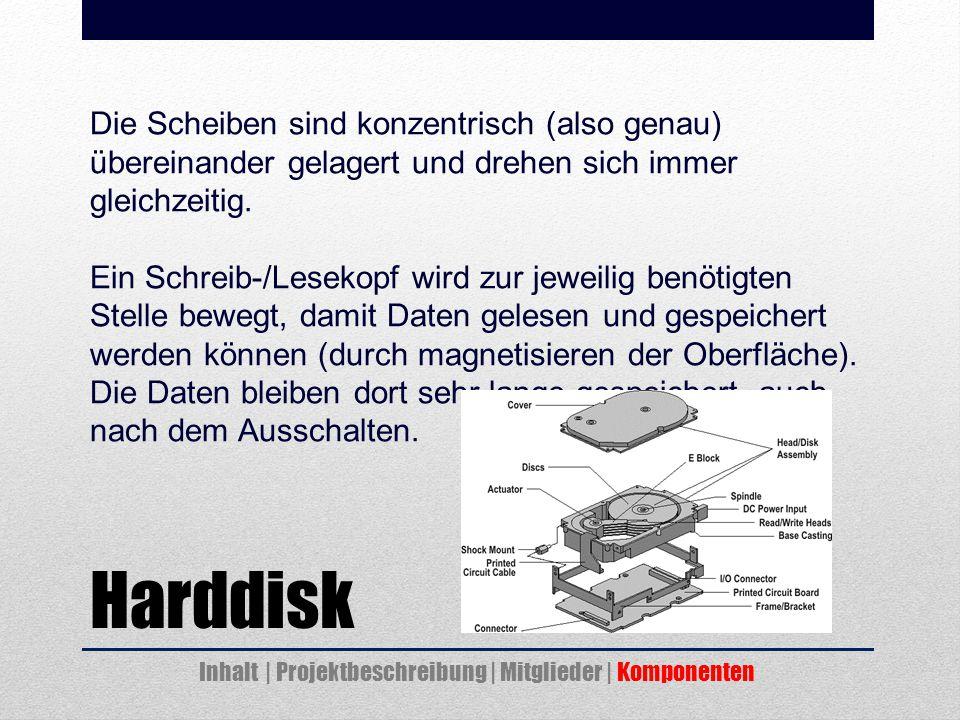 Harddisk Die Scheiben sind konzentrisch (also genau) übereinander gelagert und drehen sich immer gleichzeitig.