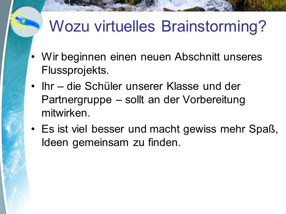 Wozu virtuelles Brainstorming.Wir beginnen einen neuen Abschnitt unseres Flussprojekts.