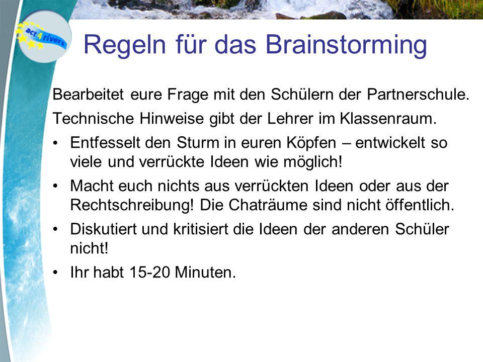 Regeln für das Brainstorming Bearbeitet eure Frage mit den Schülern der Partnerschule.