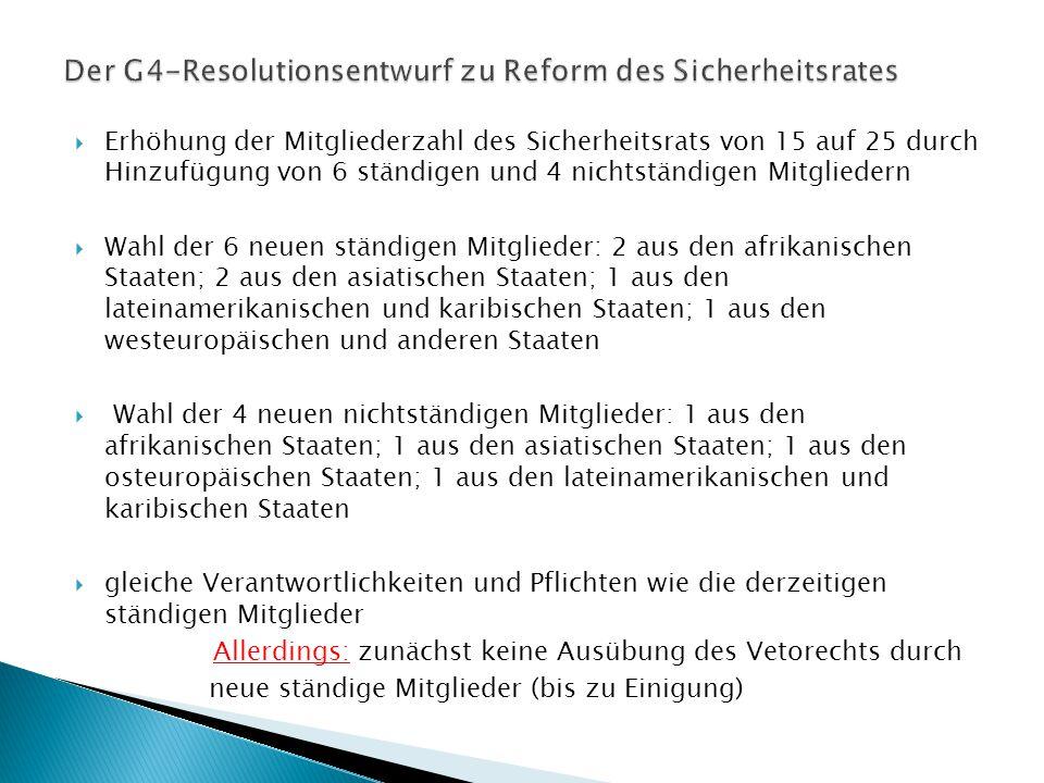  Erhöhung der Mitgliederzahl des Sicherheitsrats von 15 auf 25 durch Hinzufügung von 6 ständigen und 4 nichtständigen Mitgliedern  Wahl der 6 neuen