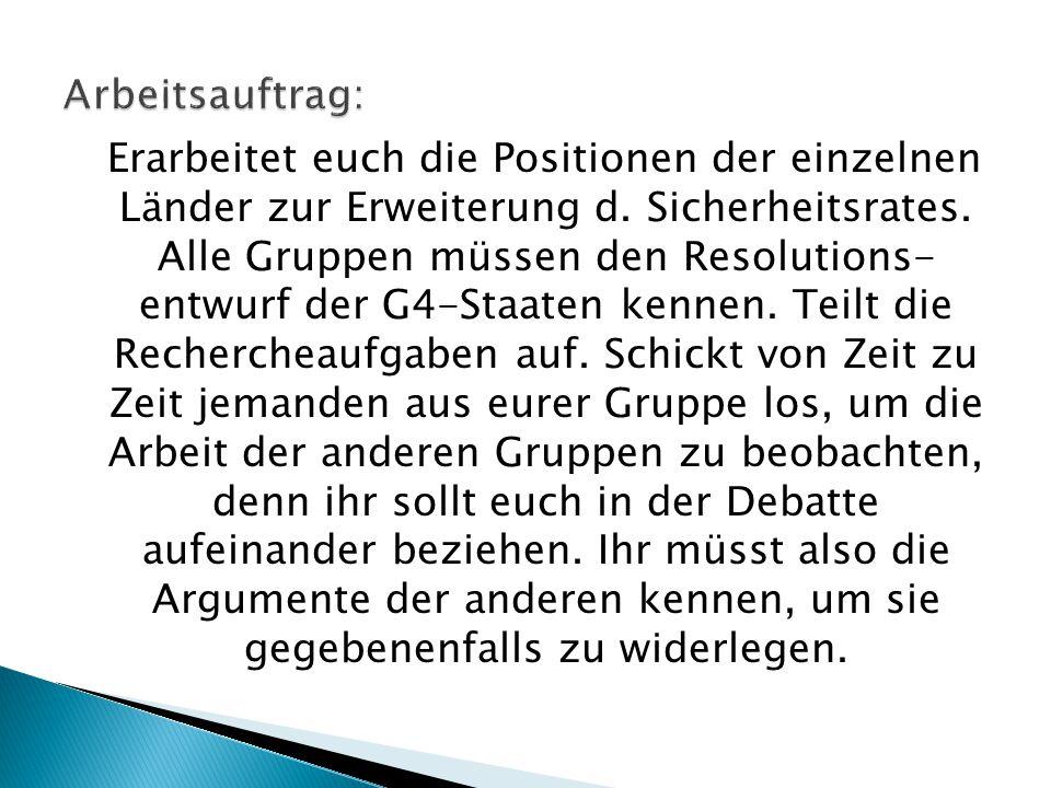 Erarbeitet euch die Positionen der einzelnen Länder zur Erweiterung d. Sicherheitsrates. Alle Gruppen müssen den Resolutions- entwurf der G4-Staaten k