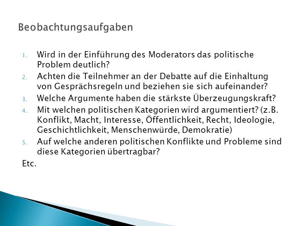 1. Wird in der Einführung des Moderators das politische Problem deutlich? 2. Achten die Teilnehmer an der Debatte auf die Einhaltung von Gesprächsrege