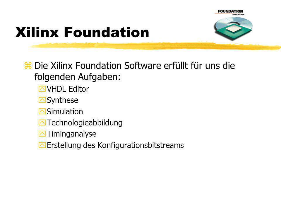 Xilinx Foundation z Die Xilinx Foundation Software erfüllt für uns die folgenden Aufgaben: yVHDL Editor ySynthese ySimulation yTechnologieabbildung yT