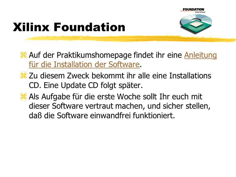 Xilinx Foundation z Auf der Praktikumshomepage findet ihr eine Anleitung für die Installation der Software.Anleitung für die Installation der Software