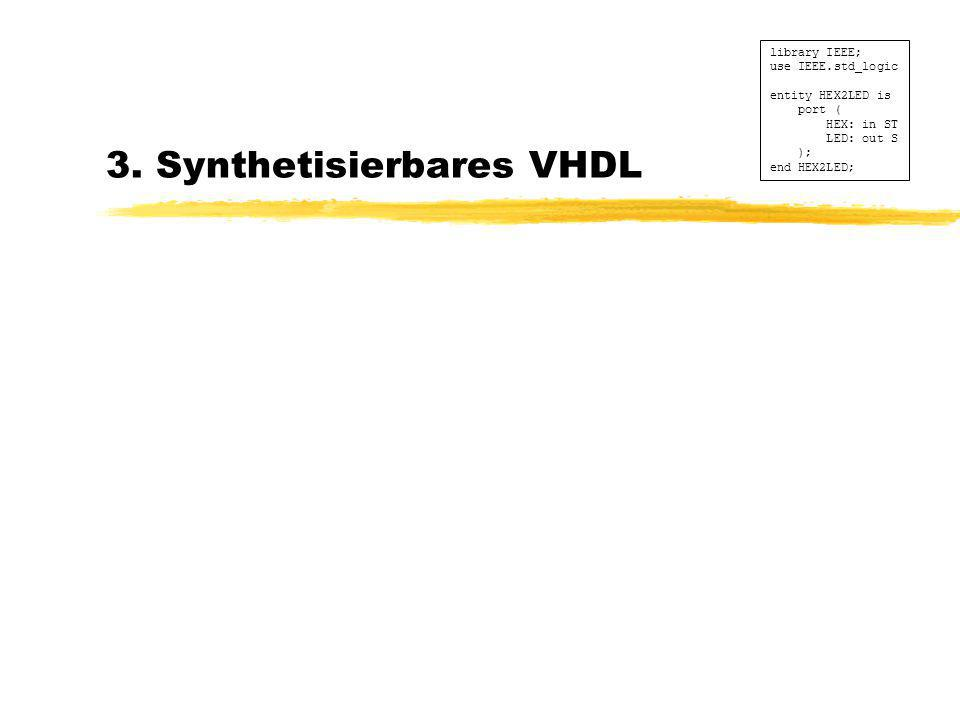 3. Synthetisierbares VHDL library IEEE; use IEEE.std_logic entity HEX2LED is port ( HEX: in ST LED: out S ); end HEX2LED;